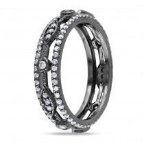Diamond Eternity Fashion Ring 14k Black Rhodium Plated Gold (0.12ct)