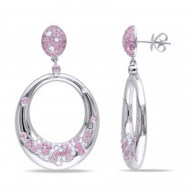 Pink Sapphire & Diamond Fashion Earrings 14k White Gold (6.80ct)