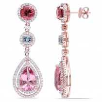 Pink Tourmaline, Aquamarine & Diamond Earrings 14k Rose Gold (7.50ct)