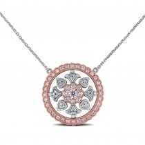 Diamond Circular Floral Pendant Necklace 14k Two Tone Gold (0.44ct)