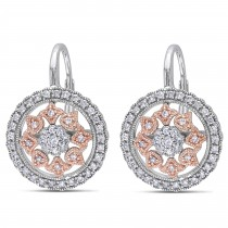 Diamond Circle Floral Leverback Earrings 14k Two Tone Gold (0.49ct)