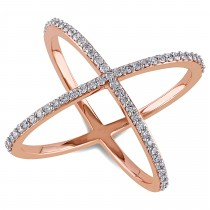 "Abstract Diamond ""X"" Cross Fashion Ring 14k Rose Gold (0.37ct)"