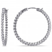Diamond Accented Medium-Sized Hoop Earrings 14k White Gold (1.75ct)
