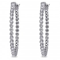 Diamond Accented Medium-Sized Hoop Earrings 14k White Gold (1.75ct)|escape