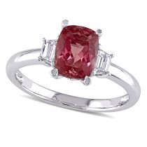 Cushion Pink Tourmaline & Diamond 3 Stone Ring 14k White Gold (1.85ct)