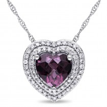 Heart Rhodolite Garnet & Diamond Heart Pendant 14k White Gold (2.25ct)