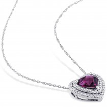 Rhodolite Garnet & Diamond Heart Pendant 14k White Gold (2.25ct)