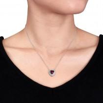 Rhodolite Garnet & Diamond Heart Pendant 14k White Gold (2.25ct)