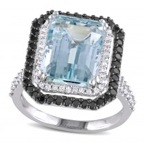 Octagon Aquamarine & BlackWhite Diamond Ring 14k White Gold (7.25ct)