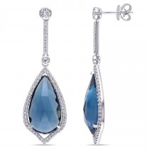 Pear Blue Topaz & Diamond Fashion Earrings 14k White Gold (24ct)