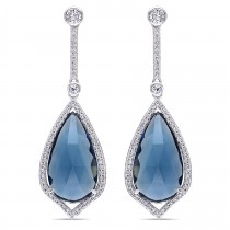 Pear Blue Topaz & Diamond Fashion Earrings 14k White Gold (24.00ct)|escape