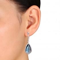 Pear Blue Topaz & Diamond Fashion Earrings 14k White Gold (24.00ct)