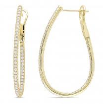 Diamond Fashion Oval Hoop Earrings 14k Yellow Gold (1.00ct)