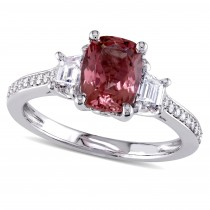 Cushion Pink Tourmaline & Diamond Fashion Ring 14k White Gold (2.38ct)