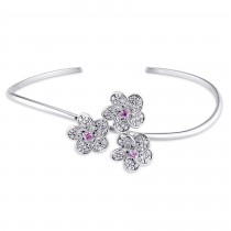 Round Pink Sapphire & Diamond Bangle 14k White Gold (0.45ct)