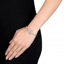 Floral Pink Sapphire & Diamond Cuff Bracelet 14k White Gold (0.45ct)