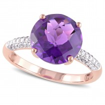 Round Amethyst & Diamond Ring 14k Rose Gold (3.95ct)