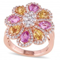 Pear Pink & Yellow Sapphire and Diamond Ring 18k Rose Gold (4.18ct)