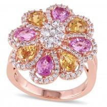 Pink & Yellow Sapphire & Diamond Flower Ring 18k Rose Gold (4.18ct)