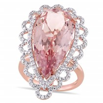 Pear Morganite & Diamond Fashion Ring 14k Rose Gold (14.625ct)