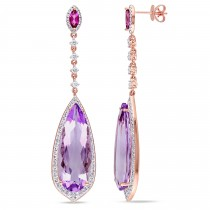 Pear Shaped Pink Amethyst & Diamond Earrings 14k Rose Gold (21.80ct)