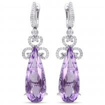 Pear Cut Pink Amethyst & Diamond Earrings 14k White Gold (20.52ct)