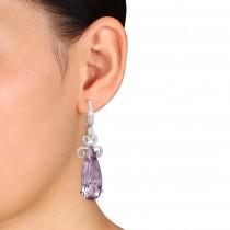 Pear Cut Pink Amethyst & Diamond Earrings 14k White Gold (20.52ct)