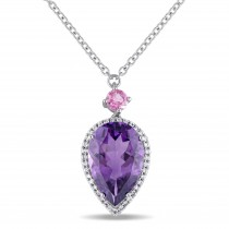 Pear Amethyst Pink Tourmaline & Diamond Necklace 14K White Gold (5.20ct)