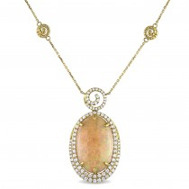 Oval Ethiopian Opal & Diamond Necklace 14k Yellow Gold (17.00ct)