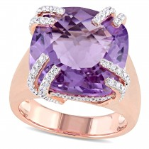 Cushion Pink Amethyst & Diamond Fashion Ring 14k Rose Gold (13.85ct)