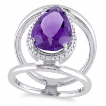Pear Amethyst & Diamond Fashion Ring 14K White Gold (4.70ct)