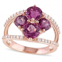 Round Pink Tourmaline & Diamond Fashion Ring 14k Rose Gold (2.75ct)