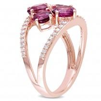 Round Pink Tourmaline & Diamond Fashion Ring 14k Rose Gold (2.75ct)
