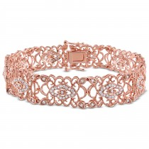Diamond Floral Filigree Fashion Bracelet 14k Rose Gold (1.19ct)
