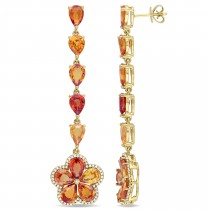 Pear Multi-color Sapphires & Diamond Earring 14k Yellow Gold (17.25ct)