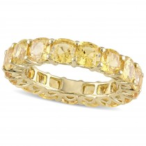 Cushion Yellow Sapphire Eternity Wedding Band 14k Yellow Gold (9.30ct)