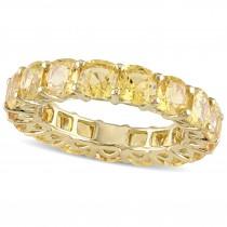 Cushion Yellow Sapphire Eternity Wedding Band 14k Yellow Gold (9.30ct)