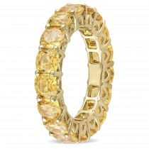 Cushion Yellow Sapphire Eternity Wedding Band 14k Yellow Gold (9.30ct)|escape