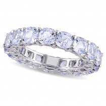 Cushion Blue Sapphire Eternity Wedding Band 14k White Gold (8.67ct)