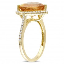 Citrine & Diamond Heart Ring 14k Yellow Gold (5.20ct)|escape