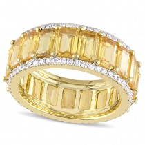 Octagon Yellow Sapphire & Diamond Wedding Band 14k Yellow Gold (11.12ct)