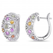 Round Multi Sapphire & Diamond Hoop Earrings 14k White Gold (2.59ct)