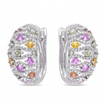 Multicolored Sapphire & Diamond Hoop Earrings 14k White Gold (2.59ct)|escape