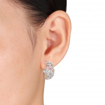 Multicolored Sapphire & Diamond Hoop Earrings 14k White Gold (2.59ct)