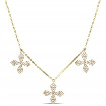 Diamond Triple Floral Cross Station Necklace 14k Yellow Gold (0.41ct)