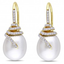 Diamond & White South Sea Pearl Earrings 14k Yellow Gold (12-13mm)|escape