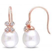 Diamond & White South Sea Pearl Earrings 14k Rose Gold (11.5-12mm)