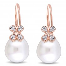 Diamond & White South Sea Pearl Earrings 14k Rose Gold (11.5-12mm)|escape