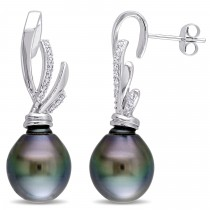 Diamond & Black Tahitian Pearl Ear Pin Earrings 14k W Gold (11-11.5mm)