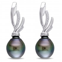 Diamond & Black Tahitian Pearl Ear Pin Earrings 14k W Gold (11-11.5mm)